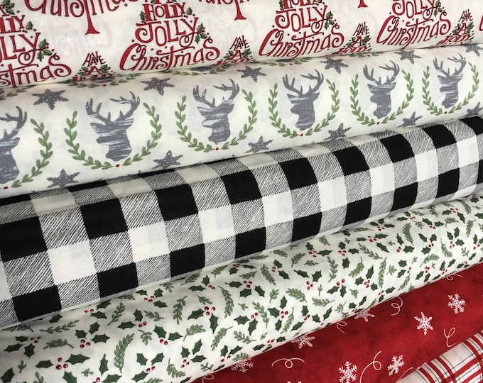 Christmas fabric bundle, Hearthside Holiday by Moda- Christmas Quilt, Holiday Fabric Bundle of 6