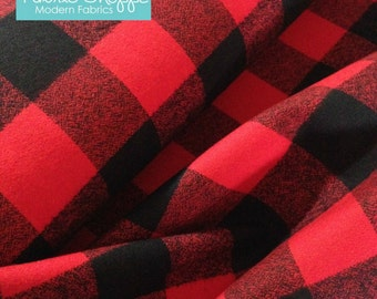 Buffalo Plaid, 1.5 inch Mammoth Flannel fabric, Red Black Plaid, Flannel by the yard, by Robert Kaufman, Mammoth Flannel Red 763