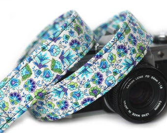 Floral Camera Strap, Camera Strap, Blue Bells