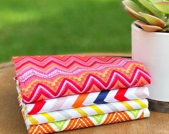 Cotton Fabric Bundle, Fat Quarter Bundle,  Mask fabric, Cotton Fabric- Chic Chevron
