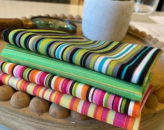 Cotton Fabric Bundle, Fat Quarter Bundle,  Mask fabric, Cotton Fabric- Sassy Stripe
