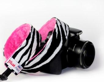 Zebra Print Camera Strap with Hot pink minky