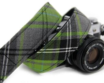 Tartan Camera Strap - Green Tartan