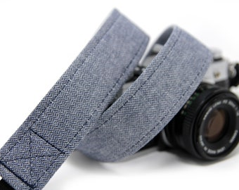 Navy Herringbone Camera Strap- DSLR Strap, Herringbone