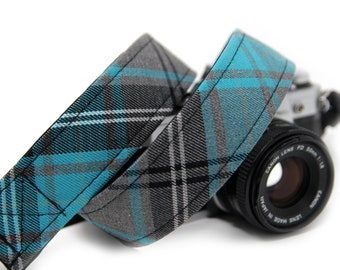 Tartan Camera Strap - Turquoise Tartan