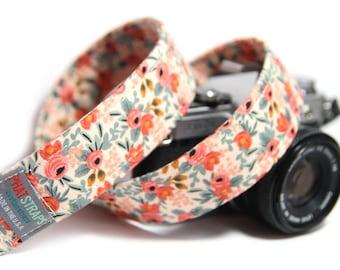 Floral Camera Strap, Rifle Paper Co,  Rosa in Peach