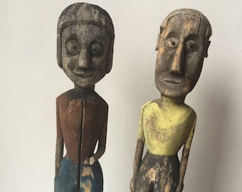 SALE- Antique American Folk Art Figures Carved and Painted Wood Man and Woman