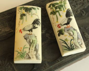 Pair of Hand-painted Japanese Paperweights With Roosters