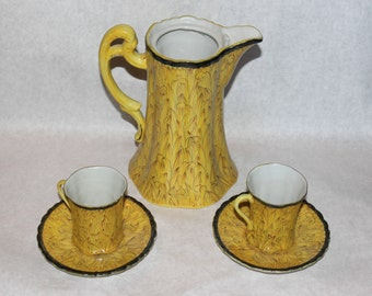 Vintage Yellow Decorated Chocolate Pot with 2 Cups and Saucers