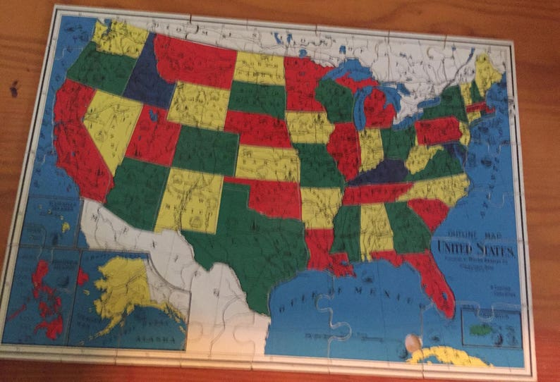 1940 Milton Bradley United States and World Map Wood