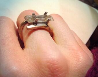 rock me baby tibetan quartz ring in recycled gold ring size 7