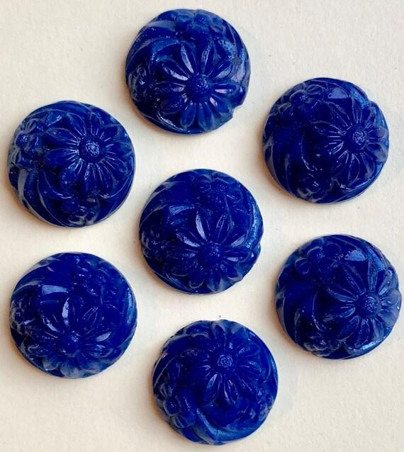 10 Vintage Carnelian Color Glass Clover Flower Cabochons 15mm
