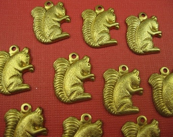 6 Vintage Brass Squirrels Pendants