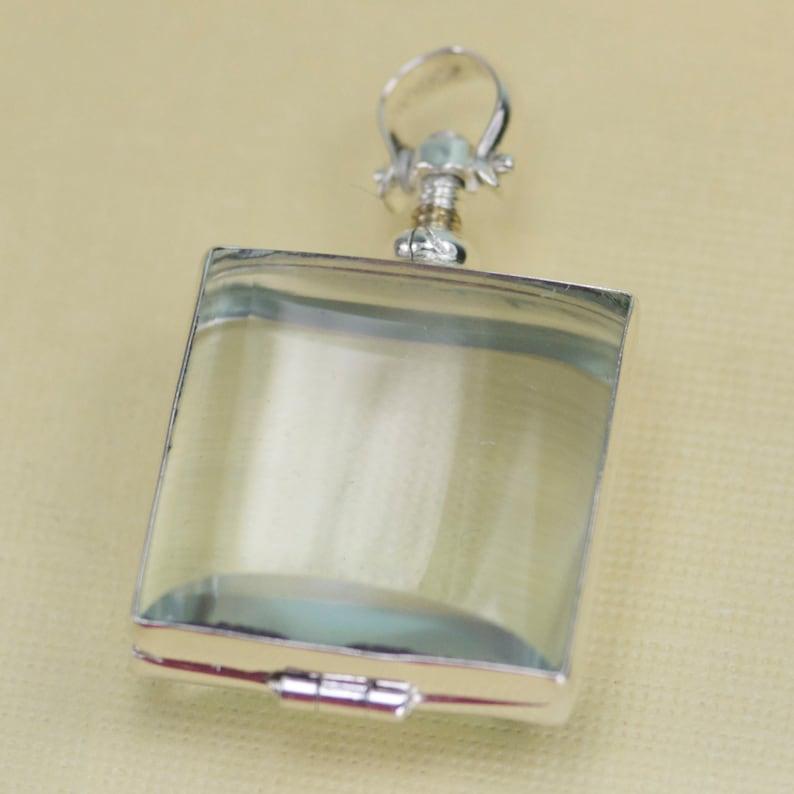 Glass Locket Square Bubble Hinge Picture Silver Pendant