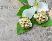 Erwin Pearl Vintage Golden Cocoon Earrings Clip Ons