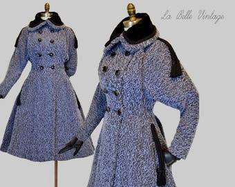 RESERVED***  Lilli Ann Vintage 50s Coat M L ~ Paris Blue Wool ~ Wasp Waist ~ Full Swing Skirt ~ Black Velvet Trim ~ Corded Tassels