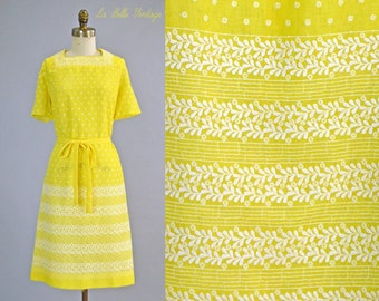 040a66cf2 Sunshine Yellow Shift Dress L Vintage 1960s Floral Embroidered Cotton Voile  Frock ~ A Mendel Creation ~ Deadstock