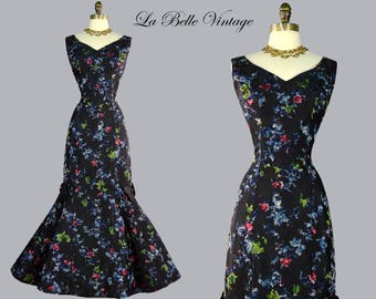 50s Mermaid Evening Gown Vintage Formal Dinner Party Dress Montaldos