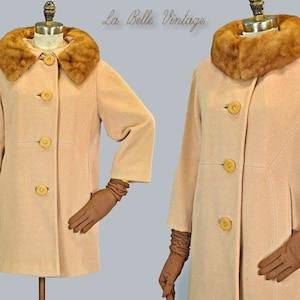 25/% SALE Robert Knox Tan Wool Suit S M Vintage 60s Jacket Pencil Skirt Set ~ Fur Collar