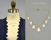 1930s Carved Mother of Pearl Necklace Vintage Scalloped Choker