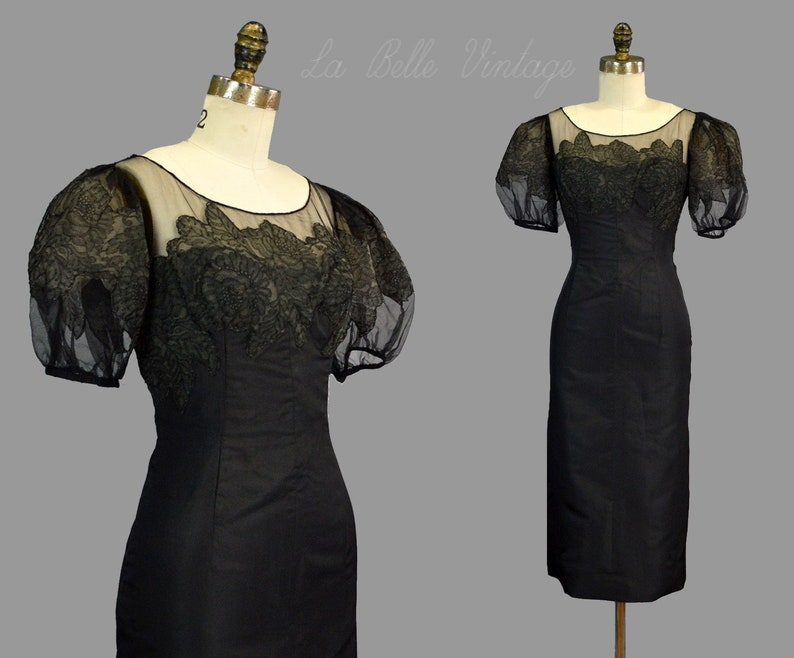 Black Silk 1950s Pinup Cocktail Dress XS S Chantilly Lace Huge image 0