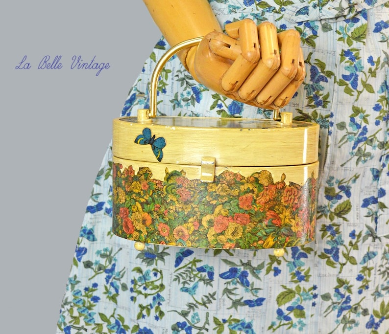 Butterfly Novelty Purse Vintage Decoupage Metal Handbag image 0