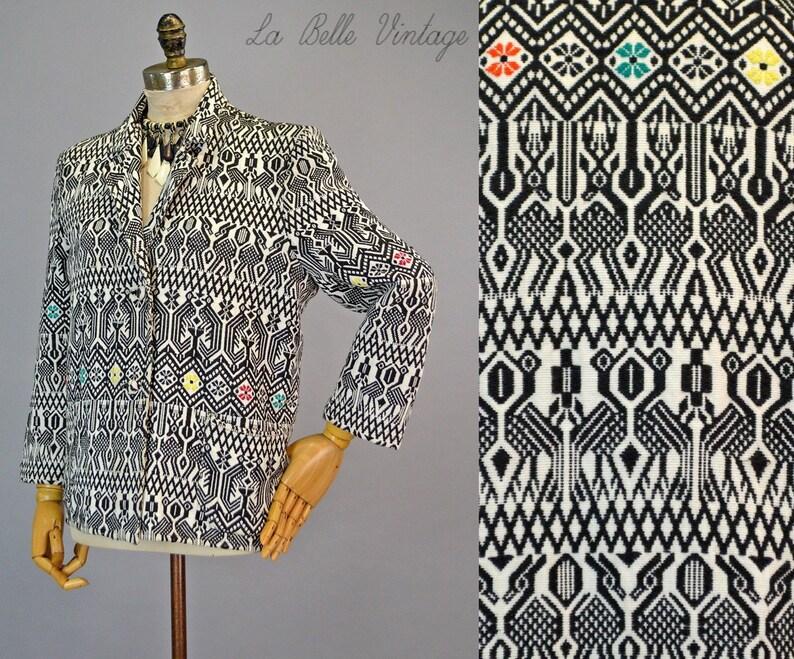 Novelty Guatemalan Jacket L Vintage Woven Geometric Textile image 0