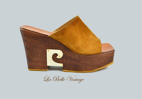 Heiß-Verkauf am neuesten 50-70% Rabatt hohe Qualität 25% SALE Pierre Cardin Platform Shoes US 9 UK 7 Vintage 70s Leather & Wood  Heels ~ Made in France