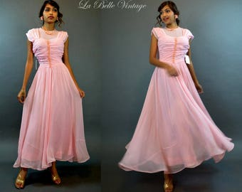 40s Sheer Gown XS Vintage Pink Ruched Party Dress ~ Velvet Flowers