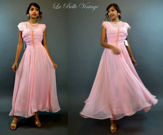 40s Sheer Gown XS Vintage Pink Ruched Party Dress