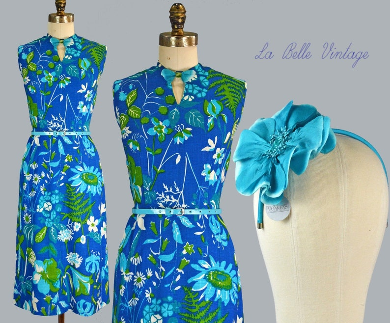 Lampl Linen Dress S Vintage 1950s Blue Floral Sundress Keyhole image 0