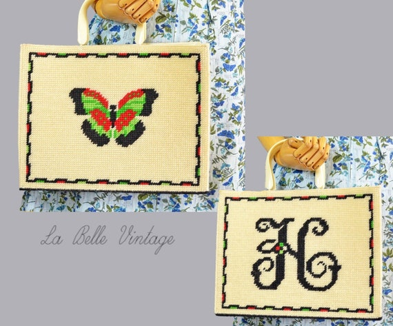 Butterfly Crochet Tote Vintage Woven Monogram H Pu