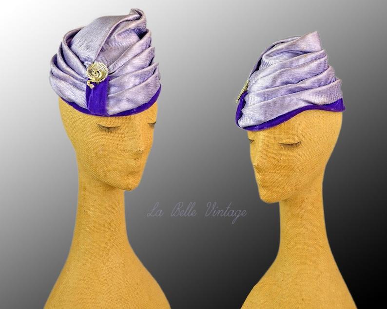 Icy Lavender Toque Vintage 1960s Asymmetrical Turban  Saks image 0
