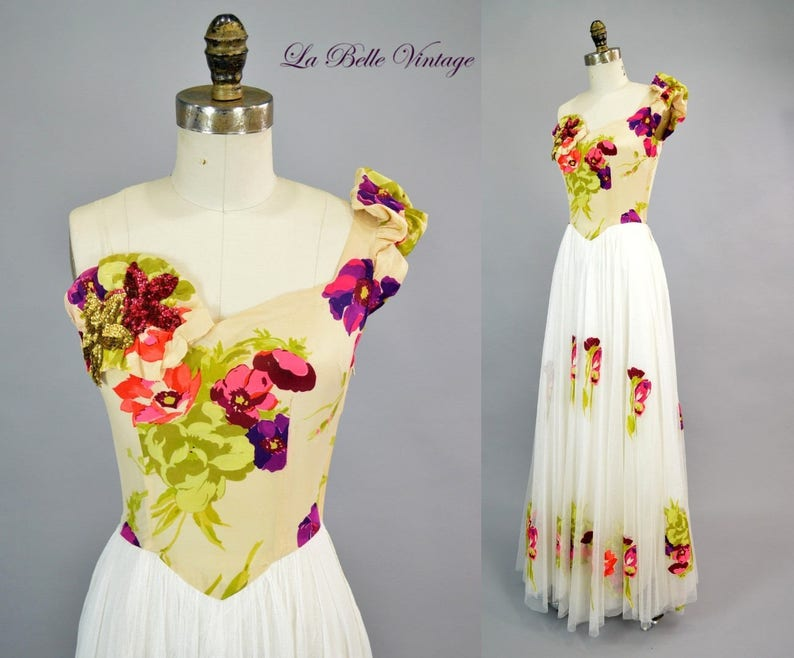3d0f7cb1a 1940s One Shoulder Silk Crepe Dress XS Vintage Colorful Old