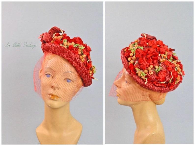 Red Velvet Berries Vintage 1950s Straw Floral Hat  Ethel image 0
