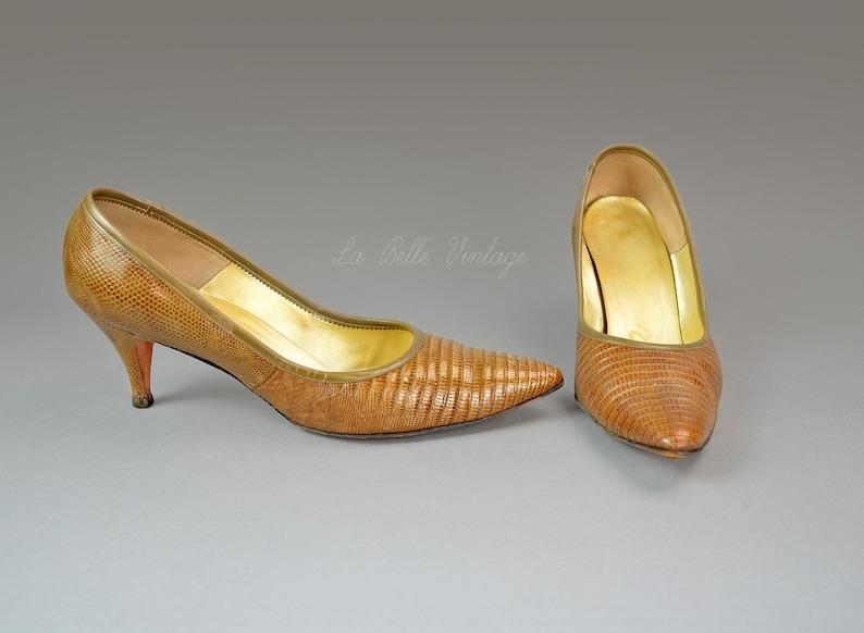 Brown Lizard Stilettos Vintage 1960s Palizzio Shoes 8.5 US 6.5 image 0