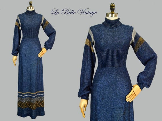 25% SALE Metallic Lurex Sweater Dress XS S Vintage