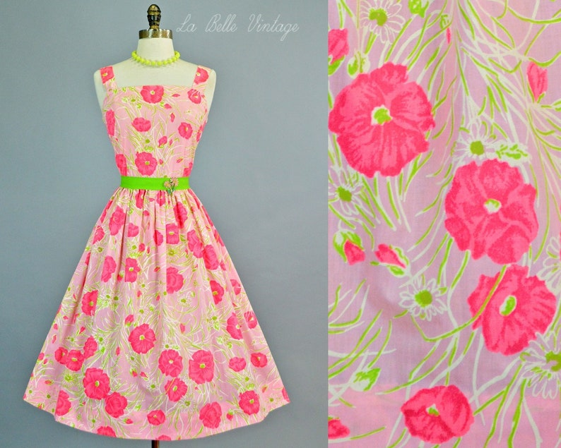 Poppy Print 1960s Cotton Floral Dress S Vintage Serbin image 0
