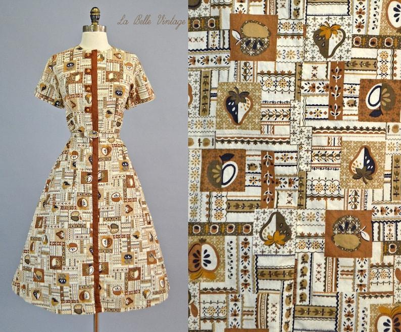 Novelty Fruit Print Dress L Vintage 1950s Housedress  Unworn image 0