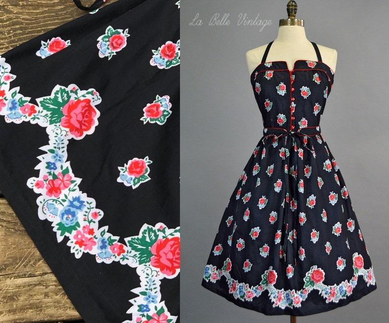 Red Rose Border Print Floral Dress XS S Vintage Full Skirt image 0