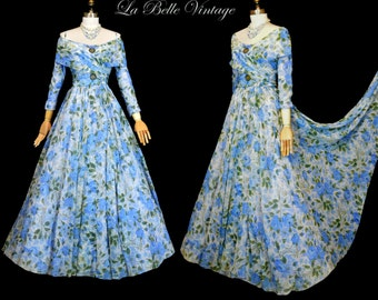 Vintage 1940s 1950s Chiffon Party Dress ~ Blue Watercolor Roses ~ Off Shoulder Ball Gown ~ Saks Fifth Avenue