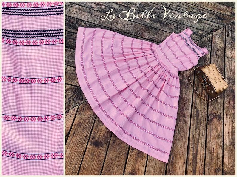 Hal-Mar 1950s Cotton Gingham Dress S Vintage Pink Embroidered image 0