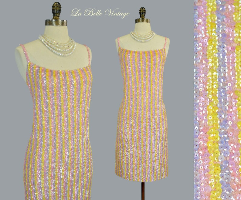 Gene Shelly Sequin Party Dress L Vintage 1960s Candy Stripe image 0
