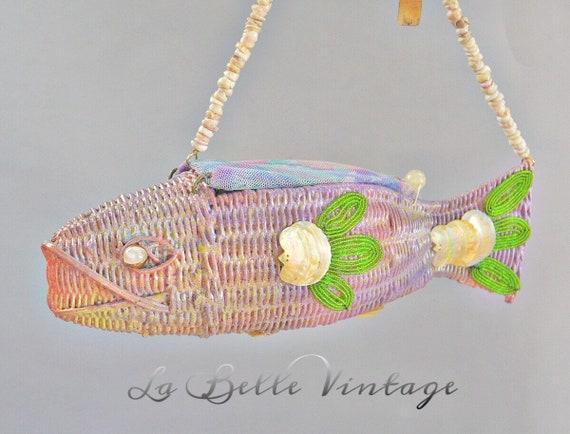Novelty Fish Shaped Figural Handbag Vintage Wicker
