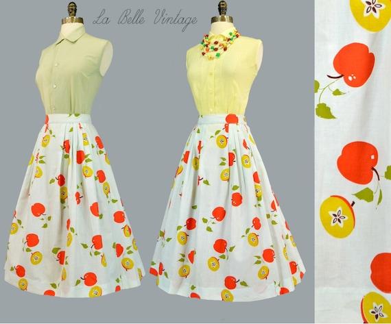 Novelty Fruit Print Vintage 1950s Full Skirt Shirt