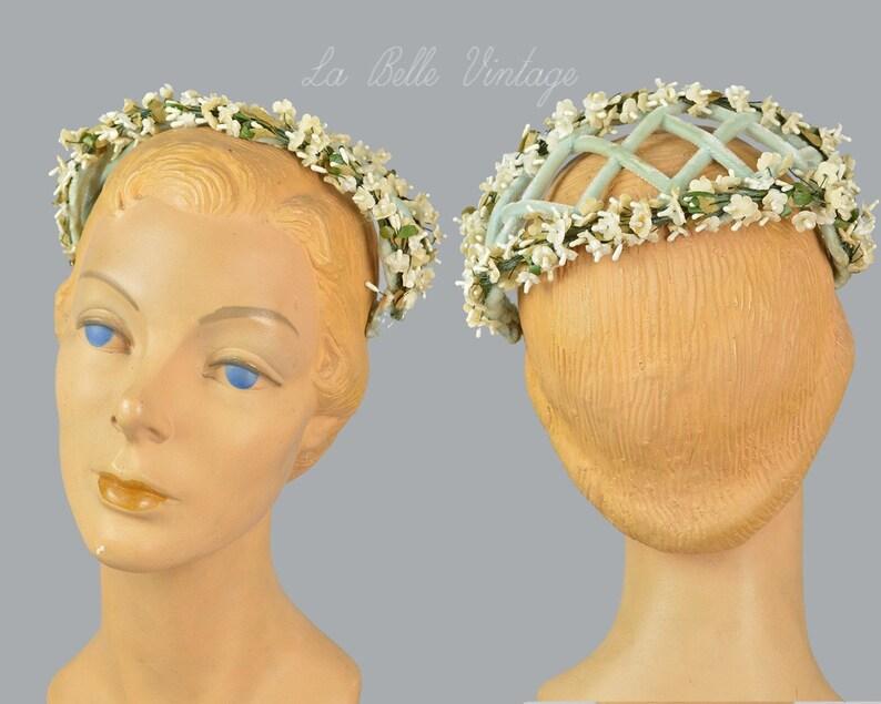 Something Blue 1960s Headband Vintage Ivory Floral Wedding Hat image 0