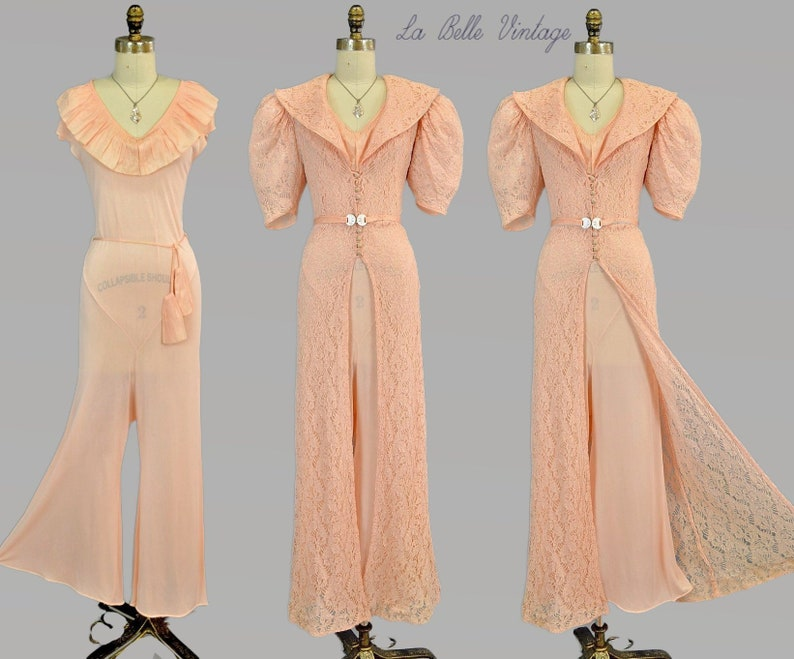 1930s Ruffled Jumpsuit Set S Vintage Art Deco Lace Over Dress image 0