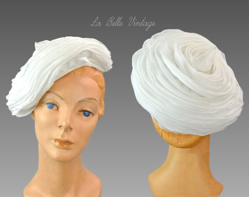 Jack McConnell Wedding Hat Vintage White Silk Organza Layered image 0
