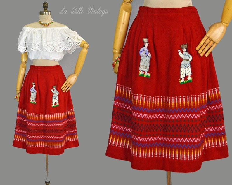 Embroidered Warriors Wool Skirt L XL Vintage Red Full Skirt image 0