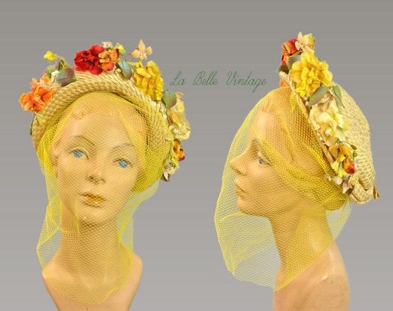 Straw Halo Hat Vintage 1940s Summer Floral Chapeau